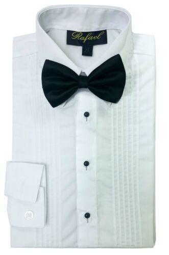 Tuxedo Dress Shirt Boys White Long Sleeve Bow Tie Kids Child Toddler Size 2T-20