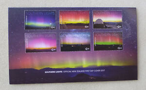 2017-NEW-ZEALAND-SOUTHERN-LIGHTS-6-STAMPS-FDC-FIRST-DAY-COVER