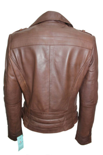 New Soft Style Jacket Fashion Roselyn Brown Nappa Designer Biker Ladies Leather wqw4nAap