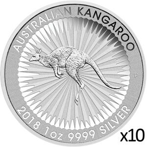 10 x 1 oz 2018 Silver Kangaroo Coin - .9999 Silver Coin - Perth Mint