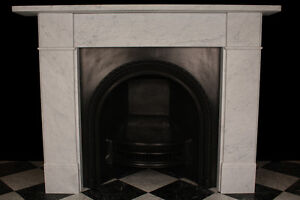 Fireplace Surround Victorian Plain in High Quality White Carrara Marble - LONDON, London, United Kingdom - Fireplace Surround Victorian Plain in High Quality White Carrara Marble - LONDON, London, United Kingdom