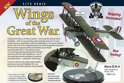 Wings of the Great War WW11101-1//72 AIRCO DH4 USMC SQUADRON D FRANCE 1918