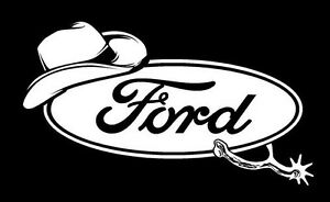 Cowboy Ford Funny Car Truck Window White Vinyl Decal Sticker Chevy Dodge Ford