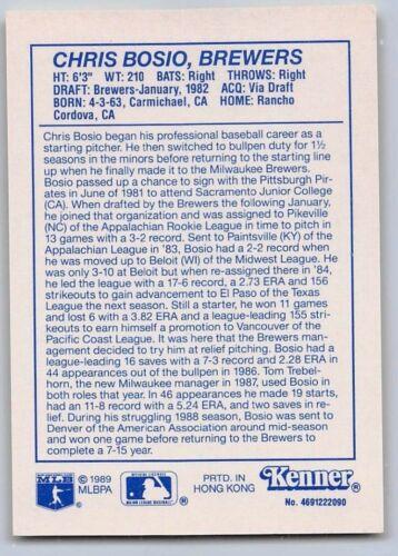 1990  CHRIS BOSIO MILWAUKEE BREWERS - Yellow Kenner Starting Lineup Card
