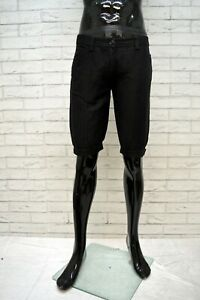 ARMANI-JEANS-Bermuda-Uomo-Jeans-Taglia-29-Pants-Pantalone-Corto-Shorts-Lino-Nero