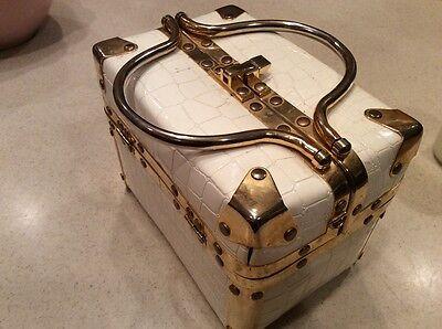 Auth Vintage Comeco White/Gold Faux Croc Train Box Handbag Purse Tote ExCell 70s