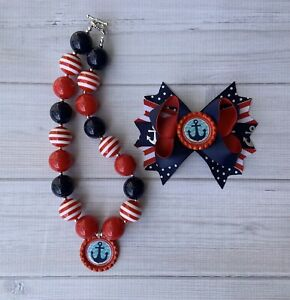 Red Silver Christmas  Hair Bow And Christmas Chunky Necklace Set