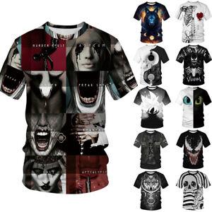Street-Punk-Rock-Goth-Women-Men-Gothic-T-Shirt-Tee-Top-Emo-Tattoo-Skull-Wolf