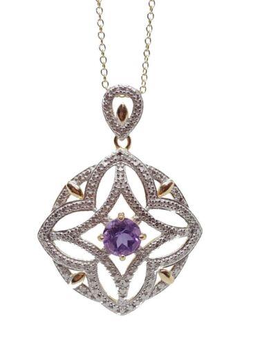 Nouveau Argent Sterling 925 En Filigrane Améthyste & Diamant Accent Collier Pendentif 18