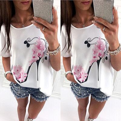 Women Loose Short Sleeve Floral Casual Blouse Shirt Tops Fashion Summer T-shirt