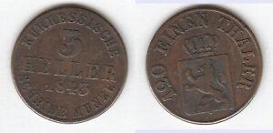Cu-3-Heller-1843-Hessen-Kassel-Wilhelm-II-und-Friedrich-Wilhelm-AKS-52