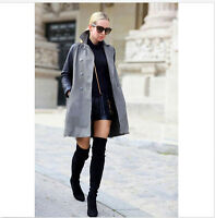 Women Cow Leather Over the Knee Slim Flat Boots Thigh High Boots Big Size  R56