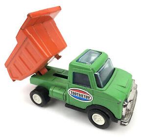 """Vtg Tootsie Toy Die Cast Dump Truck Green Orange Original Paint 6"""" Made in USA"""