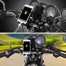 360° Adjustable Motorcycle Handlebar Mount Phone GPS Cradle Holder USB Charger