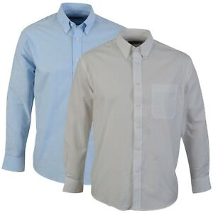 Oxford-Shirt-Button-Collar-Work-Office-Business-Smart-Formal-Blue-or-White