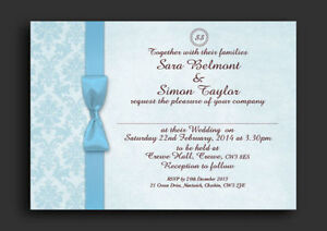 Baby Blue Damask Personalised Wedding Invitations Day Evening - F