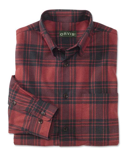 ORVIS Luxury Cotton & Merino Long Sleeve Men's Shirt   RED PLAID   XLARGE