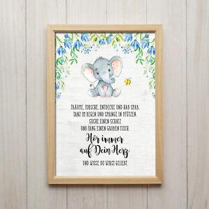 Hör auf Dein Herz Kunstdruck DIN A4 Elefant Spruch Bild Kinderzimmer ...