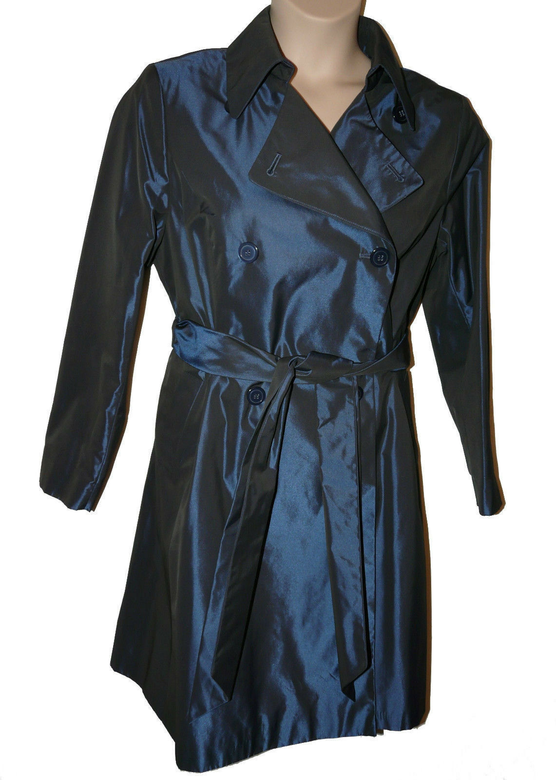 BNWT size 16  TWIGGY for M&S WOMAN NAVY TAFFETA Ladies COAT MAC