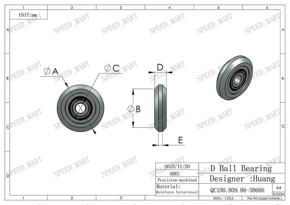 10pcs d nylon plastic embedded 696 groove ball bearings 6