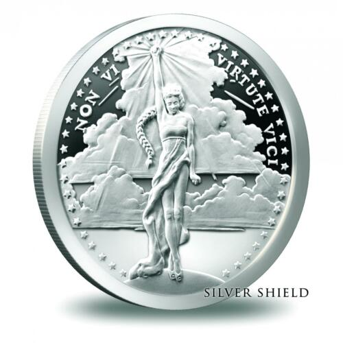 Heidi Wasteet Art 2015 Silver Shield 1oz .999 Pure Non Vi Virtute Vici Proof
