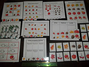 10-Fall-themed-Preschool-Daycare-laminated-learning-games-110lb-card-stock-lam