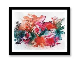 Orange-pink-blue-abstract-original-ink-abstract-painting-unique-gift-ID-1329