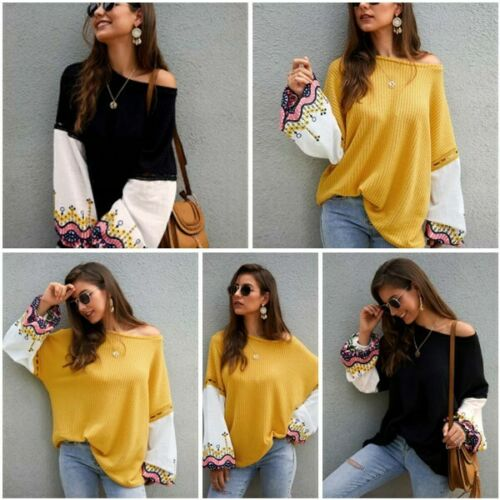 Pullover Loose Knitwear Sweater Long Sleeve Knitted Casual Womens Tops Jumper