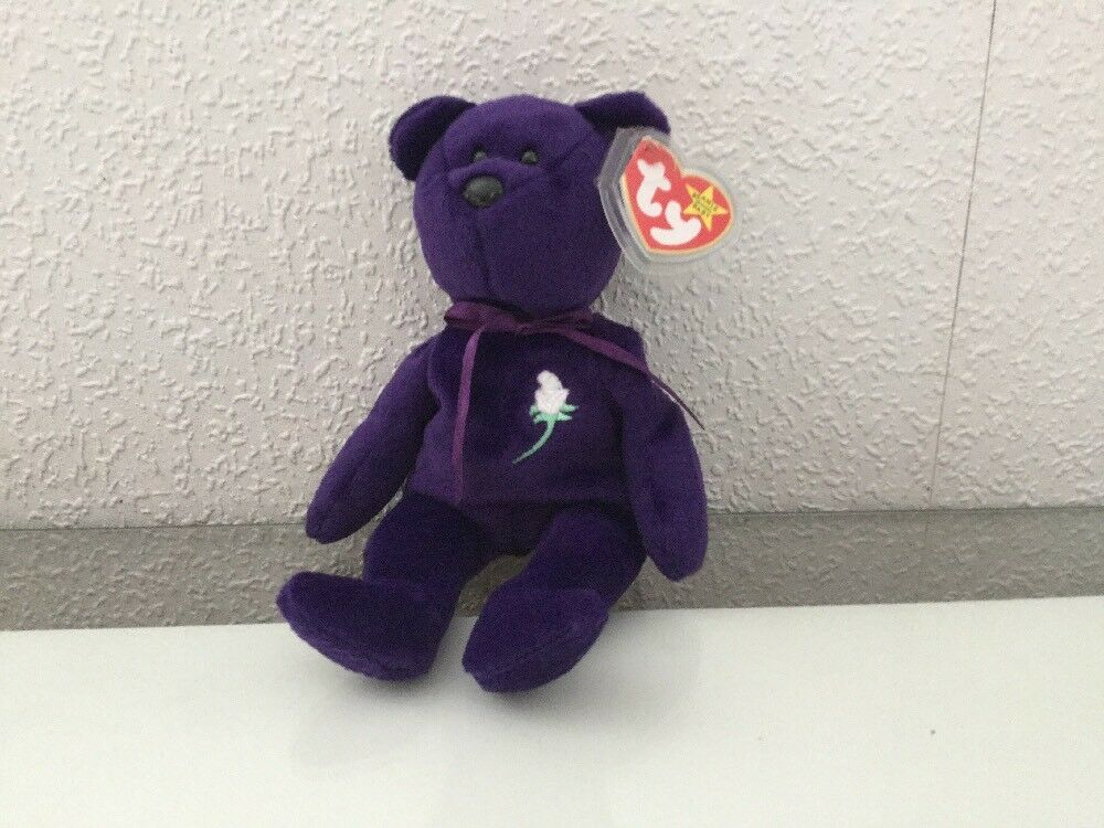 Rare Ty Princess Diana Beanie Baby, made in Indonesia - PE pellets - No Space