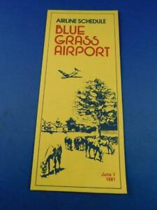 AIRLINE-SCHEDULE-TIMETABLE-BLUE-GRASS-AIRPORT-KENTUCKY-JUNE-1981-ADVERTISING