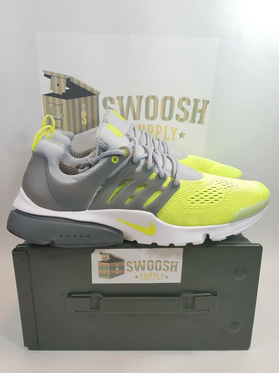 Nike Air Presto Ultra BR Uomo 898020-004 Grey Volt White Running Shoes Size 13