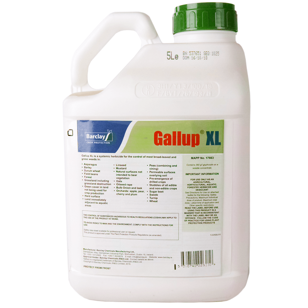5L Gallup XL Glyphosate Weedkiller Professional Strength