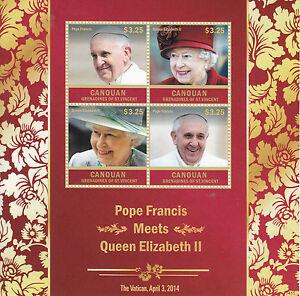 Canouan Grenadine Saint Vincent 2014 Mnh Papa Francesco Regina Elisabetta Ii 4v M S Ii Ebay