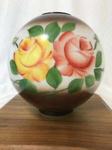 Antique-Vtg-Glass-Globe-Ball-Lamp-Shade-Painted-Roses-Floral-GWTW-Banquet-Parlor