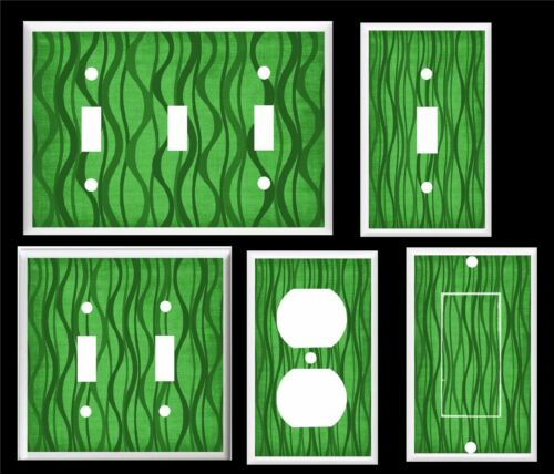 WAVY LINES GREEN LIGHT SWITCH COVER PLATE