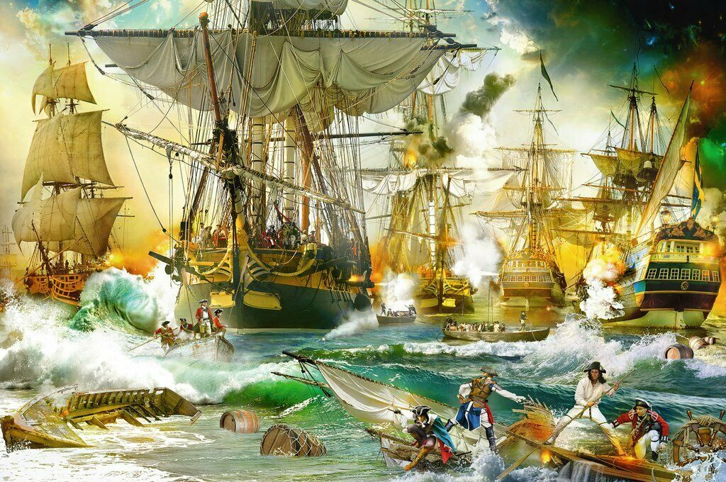PUZZLE OF 5000 PIECES - RAVENSBURGER 13969 - BATTLE NAVAL IN ALTA MAR