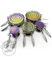 Mandala Rainbow Dreamcatcher Plugs Sizes / Gauges (0g - 1 Inch) - 1 Pair