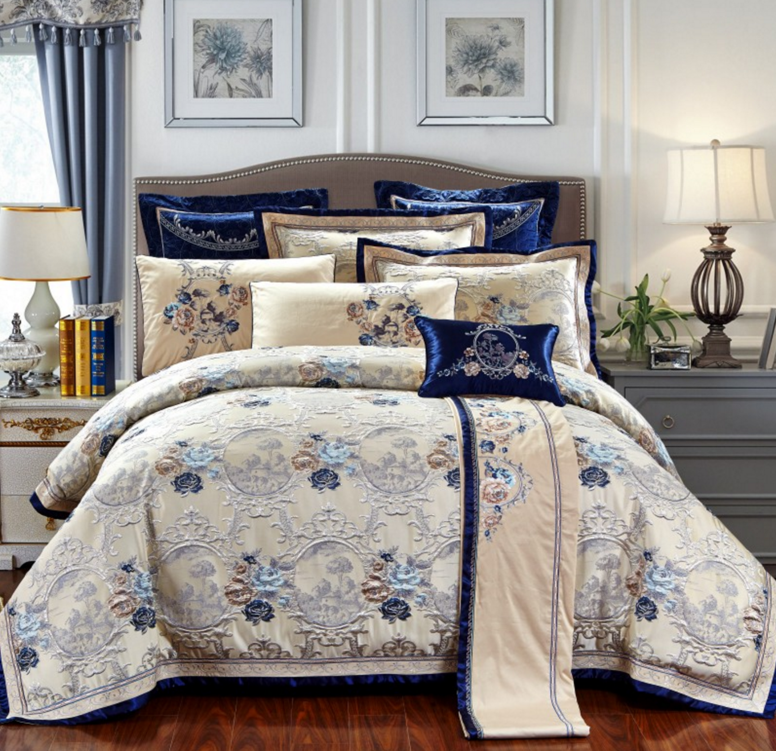 Jacquard Royal Baroque Style Embroidery Duvet Cover Bedding Set High Quality UPS