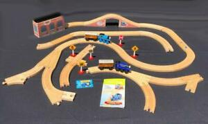 Vtg-Thomas-Wooden-Railway-Sir-Handel-Annie-Clarabel-Cars-Switch-Tracks-Lot-51pcs
