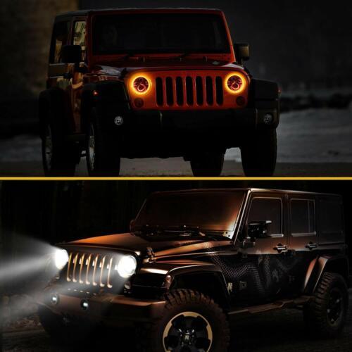 Par punto 7pulgadas CREELED faros Halo ángulo ojo para Jeep Wrangler JK TJ CJ LJ