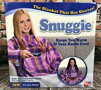 Original Snuggie Super Soft Fleece Blanket With Sleeves & Pockets Purple Plaid