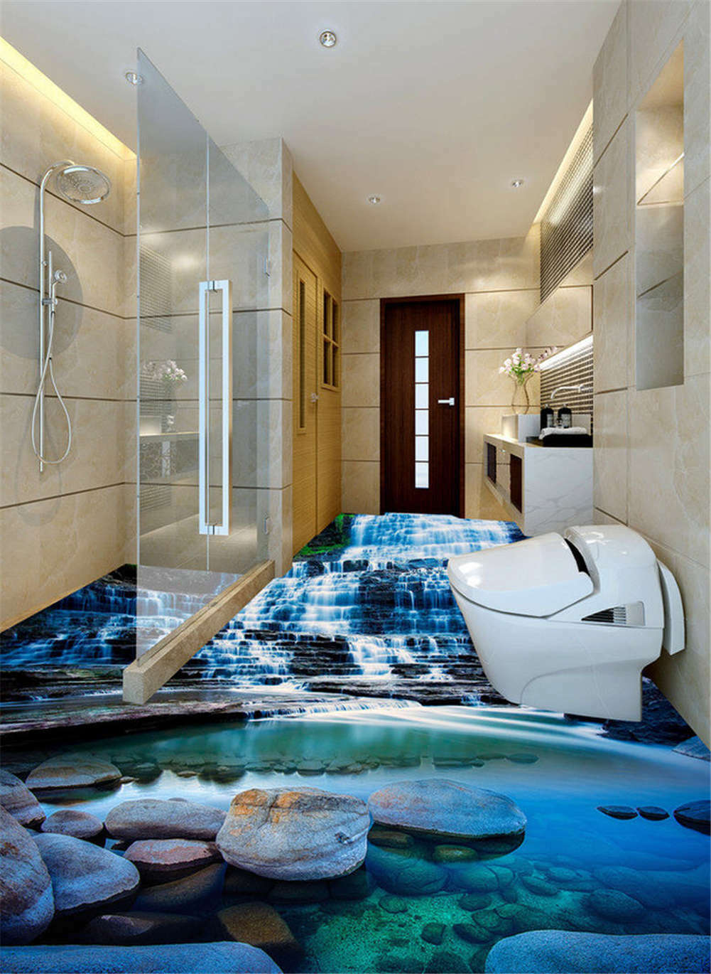 Tranquil Puddle 3D Floor Mural Photo Flooring Wallpaper Home Print Decoration