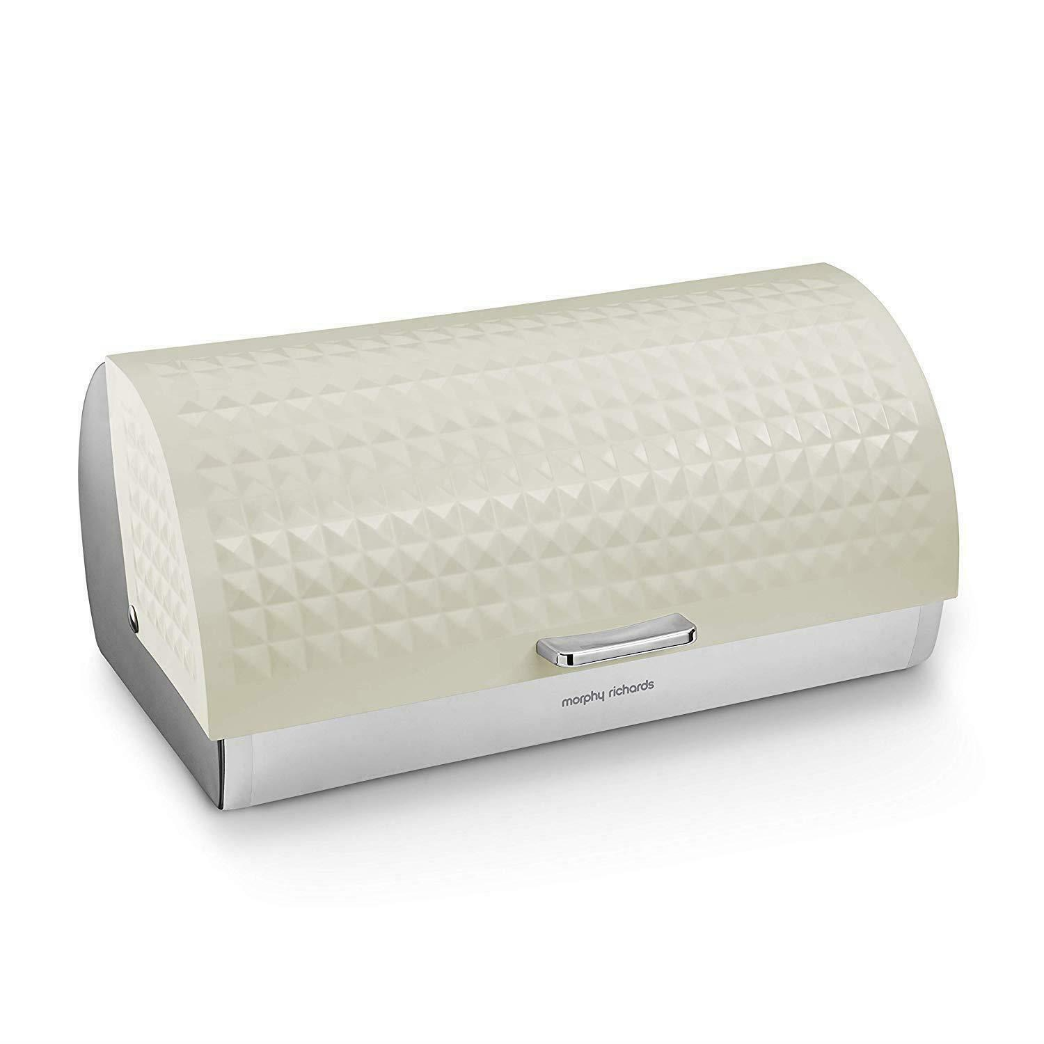 Morphy Richards Dimensions Roll Top Bread Bin With Stainless Steel Body, Ivory