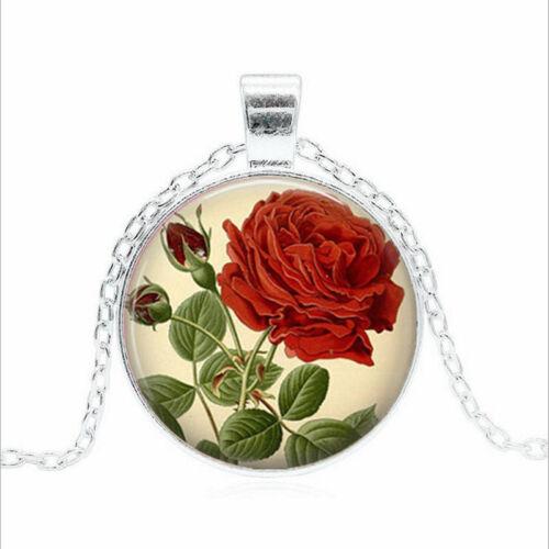 Vintage Rose Rouge Tibet Argent Dôme En Verre Chaîne Collier Sautoir Pendentif Wholesale