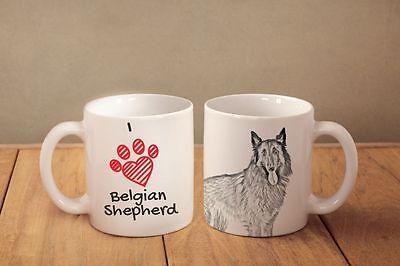 "Malinois ceramic cup Belgian Shepherd CA mug /""I love/"""