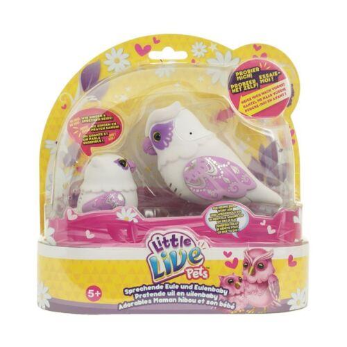 Little Live Pets Mutter und Kind Baby Sprechende Eule Herzflügel Familie weiß