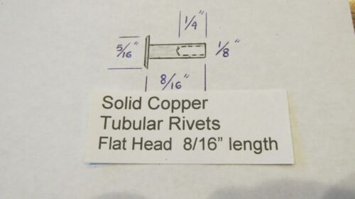 """SOLID COPPER TUBULAR RIVET 500 pcs 8//16/"""" LEATHER RIVET SEMI TUBULAR not plated"""