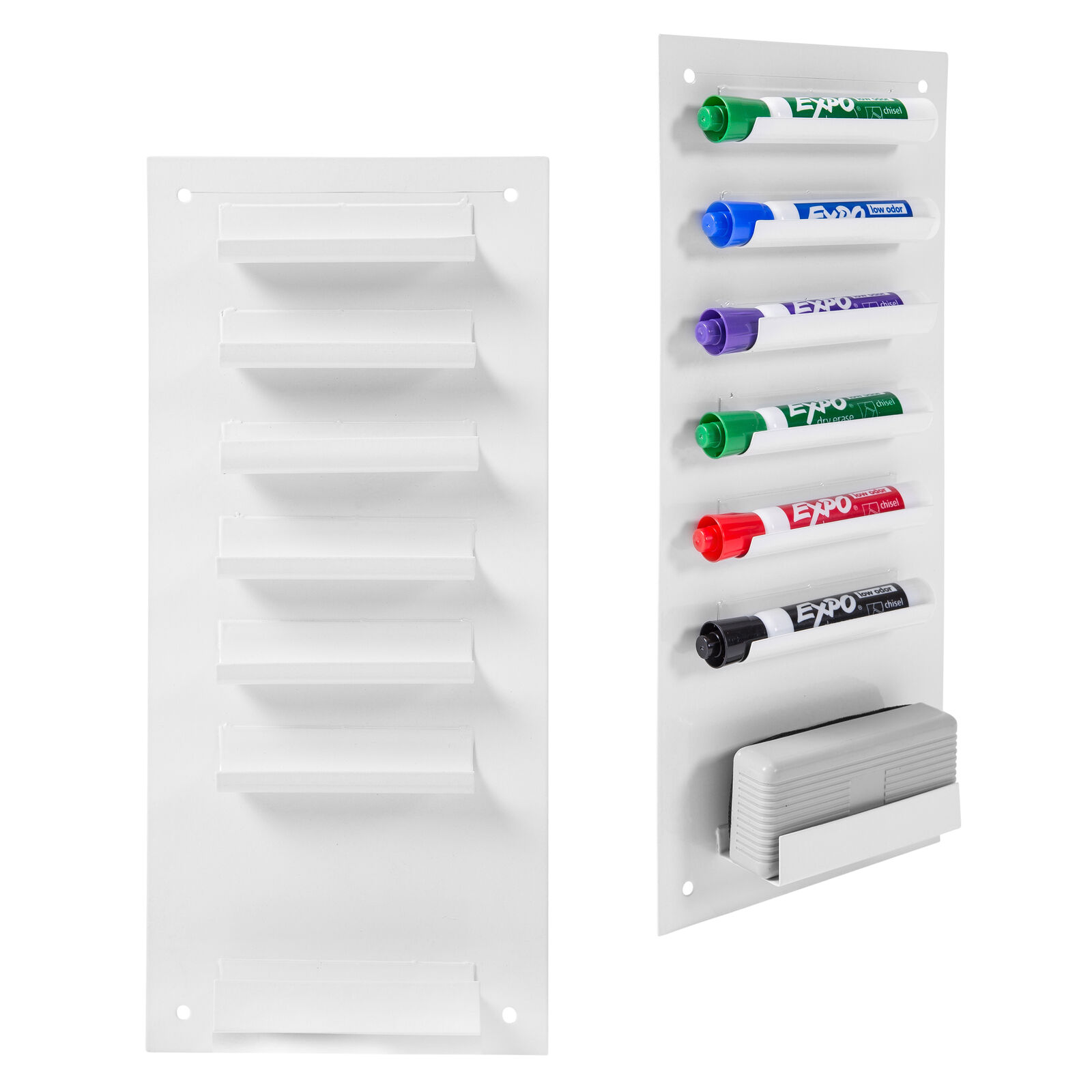 Set of 2 Wall Mountable Metal 5-Slot Dry Erase Whiteboard Marker /& Eraser Holder Tray Black