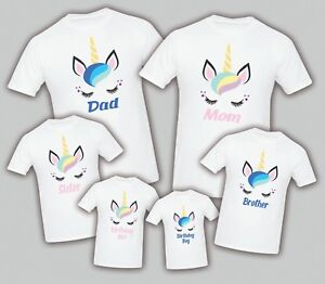 Image Is Loading Unicorn Birthday Matching T Shirts Party Family Kid