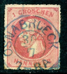Germany-1864-Hannover-1gr-Rose-SG-37-VFU-I16